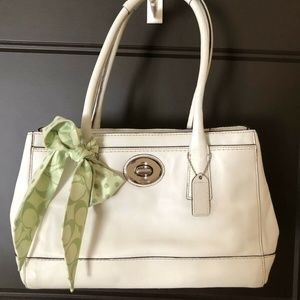 Coach Madeline Expandable White Leather Satchel